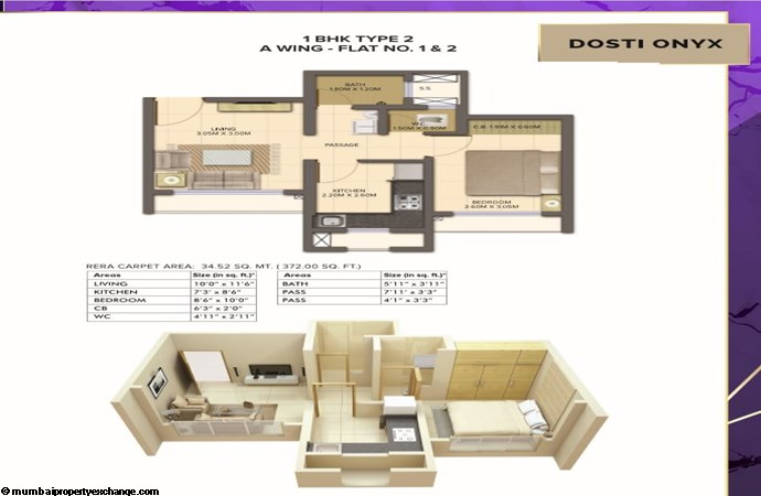 Planet North - Onyx Planet North Onyx 1BHK Type 2-Wing A