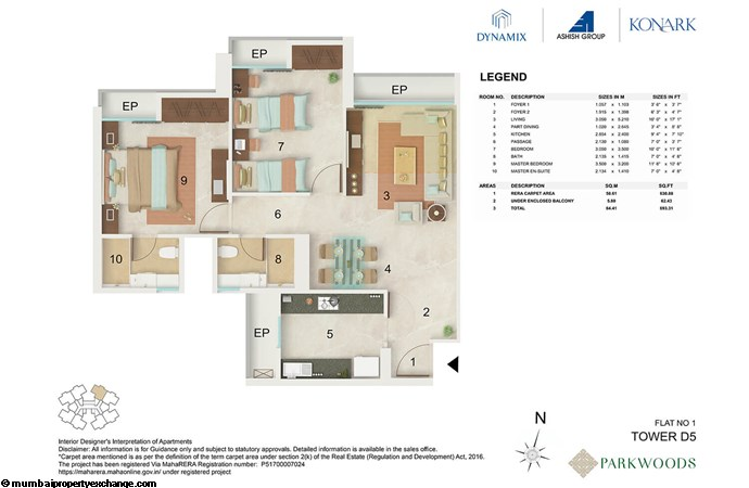 Dynamix Parkwoods Tower D5 Dynamix  Parkwoods Tower D5 2BHK floor plan -01