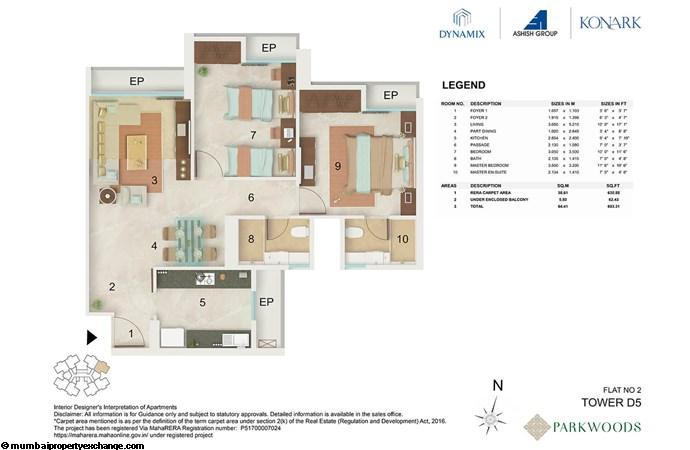 Dynamix Parkwoods Tower D5 Dynamix  Parkwoods Tower D5 2BHK floor plan -02