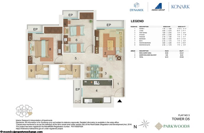 Dynamix Parkwoods Tower D5 Dynamix  Parkwoods Tower D5 2BHK floor plan -03