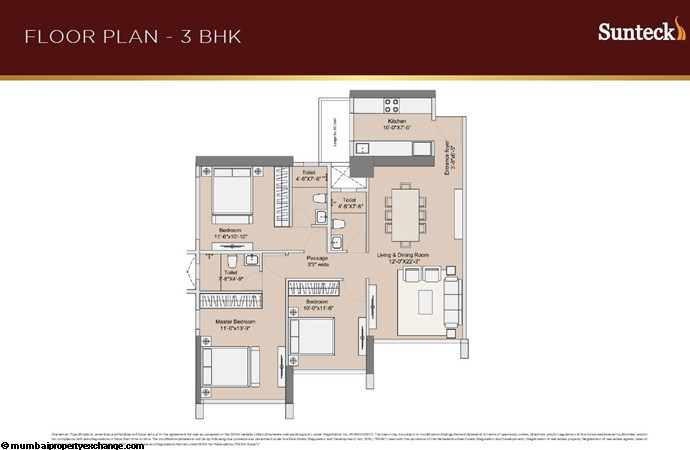 Sunteck 4th Avenue Sunteck 4th Avenue 3BHK Plan