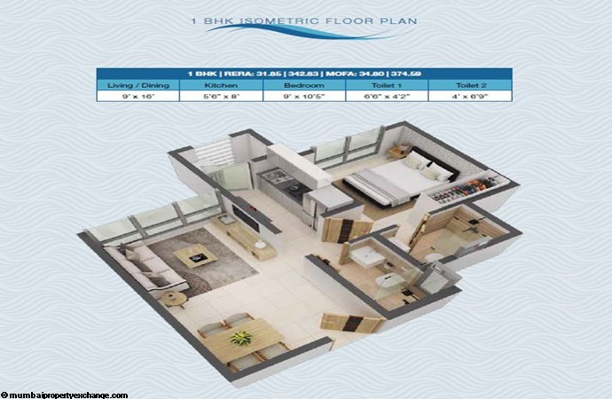 Poddar Riviera - Codename Big leap Poddar Riviera - Big Leap 1BHK Isometric Plan