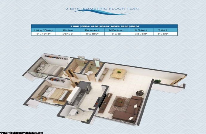 Poddar Riviera - Codename Big leap Poddar Riviera - Big Leap 2BHK Isometric Plan