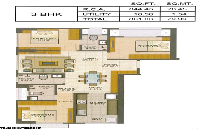 Runwal Pinnacle Runwal Pinnacle 3BHK Plan