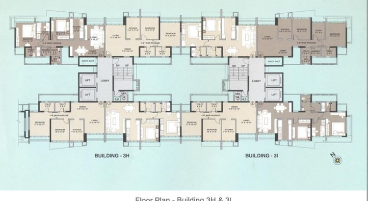 Kalpataru Aura Floor Plan 3H and 3I
