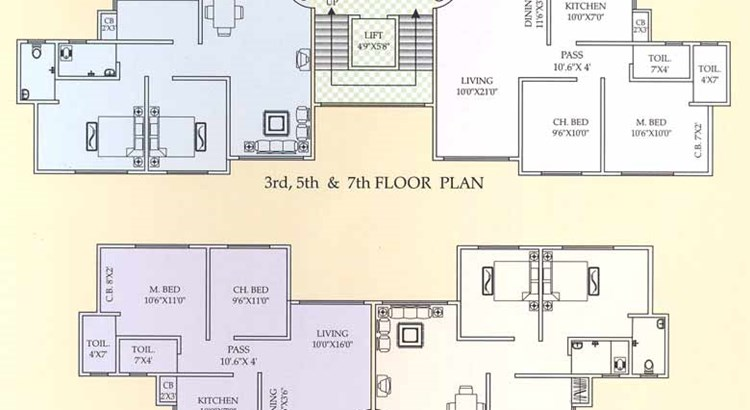 Shree Mangal Murti Apt 3rd to 7th floor plan