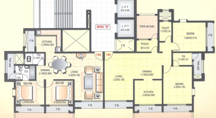 Satyam  Towers 13th Floor Plan