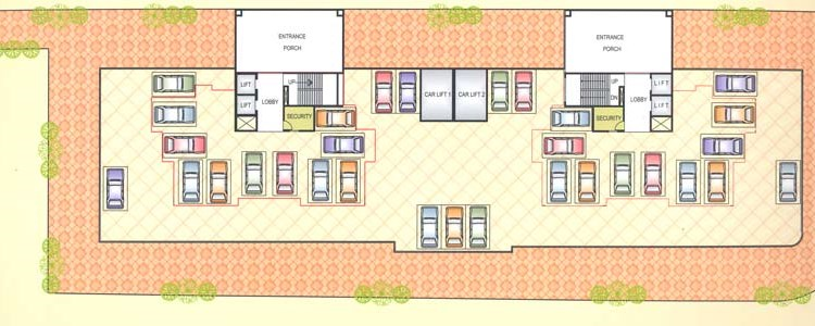 Satyam  Towers 1st Floor Plan Parking