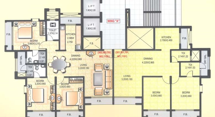 Satyam  Towers Typical Even Floor Plan (3rd - 11th)