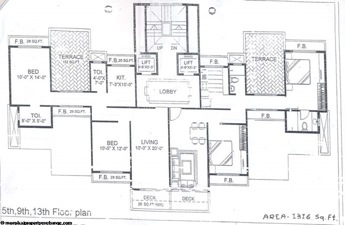 Trishul Terrace Annex 5th, 9th and 13 Floor Plan