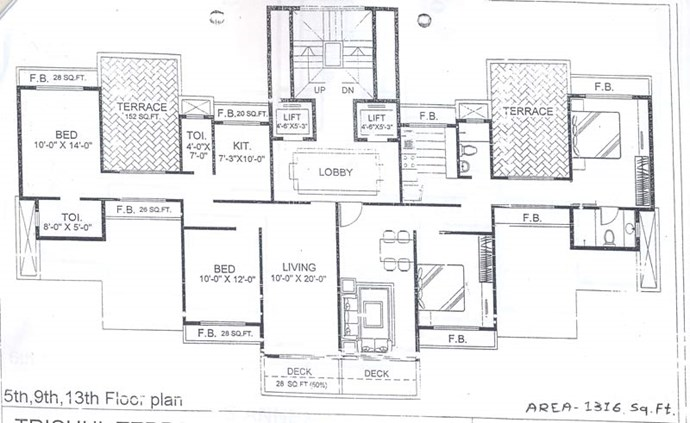 5th, 9th and 13 Floor Plan