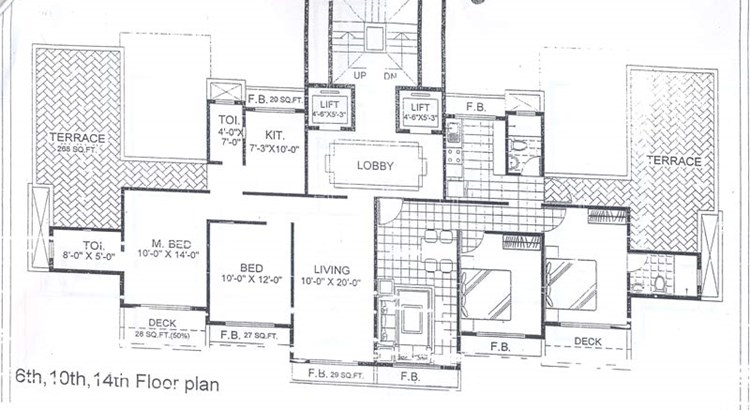 Trishul Terrace Annex 6th, 10th and 14th Floor Plan