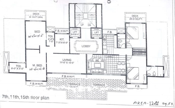 7th, 11th and 15th Floor Plan