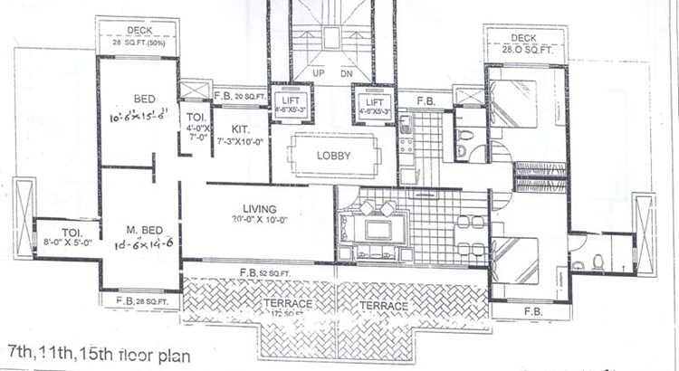 Trishul Terrace Annex 7th, 11th and 15th Floor Plan