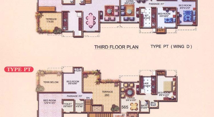 Gagan Solitaire 3rd and 4th Floor Plan