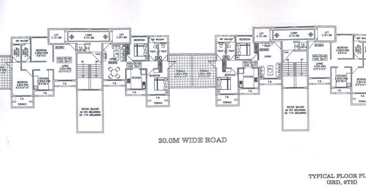 Sapphire 3rd and 9th Floor Plan