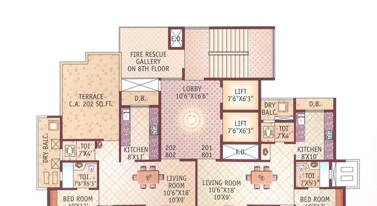 Ishwar Legacy 2nd and 8th Floor Plan