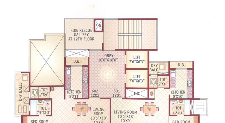 Ishwar Legacy 6th and 12th floor Plan