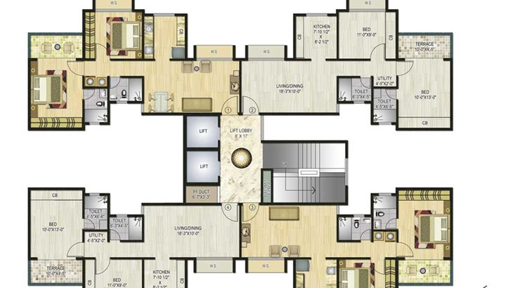 Neel Sidhi Atlantis D Wing Even Floor Plan