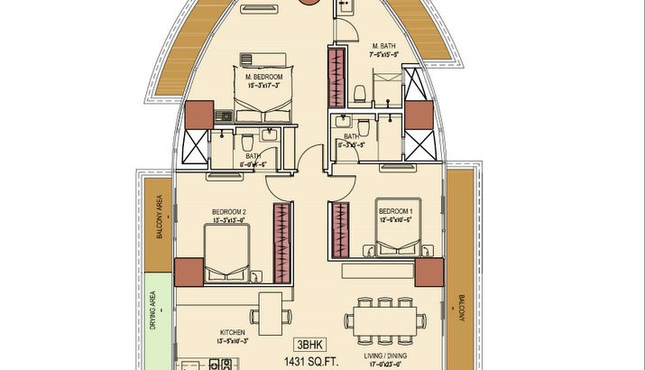Aquaria Grand A Wing 3 BHk Floor Plan