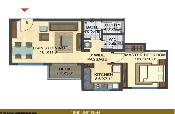 Casa Bella Gold Unit Plan 1 BHK