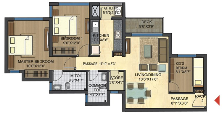 Casa Bella Gold Unit Plan 3 BHK