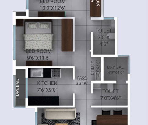 Ivy and Iris Unit Plan 2 BHK