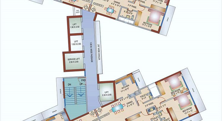 Aura Biplex Habitat Typical Floor Layout Plan (3rd to 6th, 8t