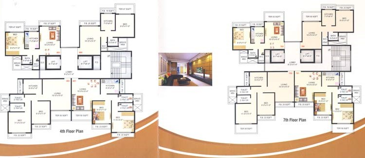 Meghna Heights 4th and 7th Floor Plan