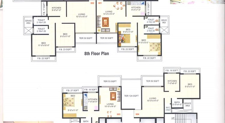 Meghna Heights 8th and 9th Floor Plan