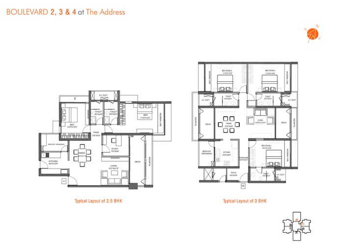 Layout for 2.5 and 3 BHK