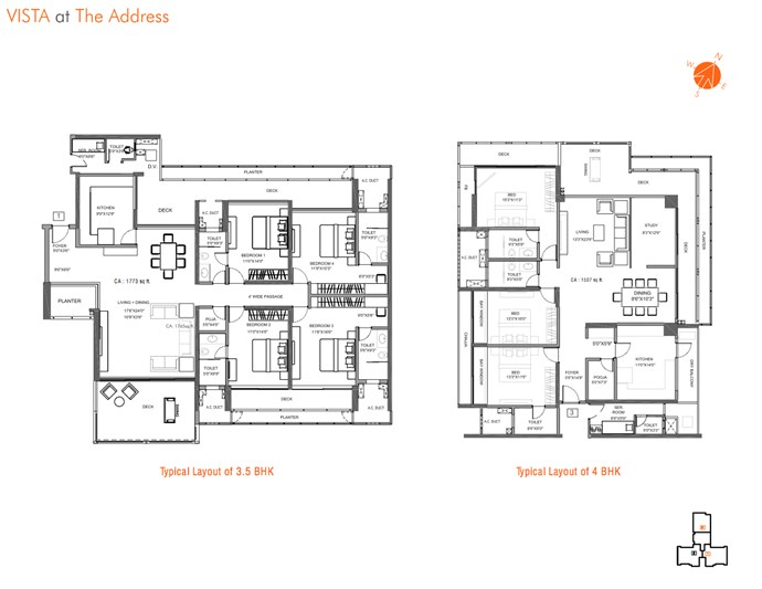 UNit Layout for 3.5 and 4 BHK