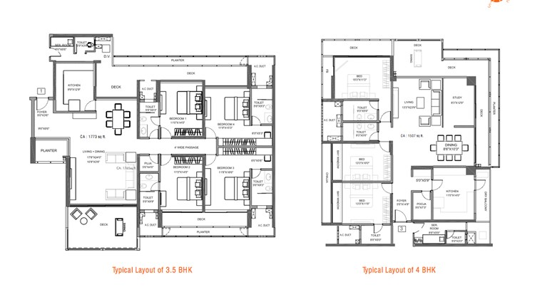 The Address UNit Layout for 3.5 and 4 BHK