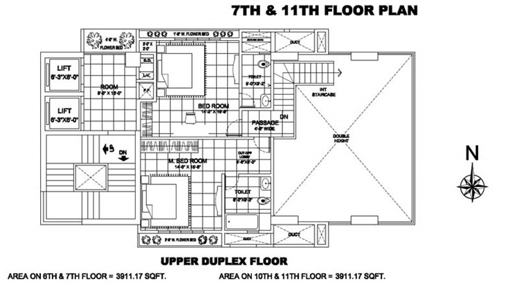 Man Dune 7th and 11th floor Plan