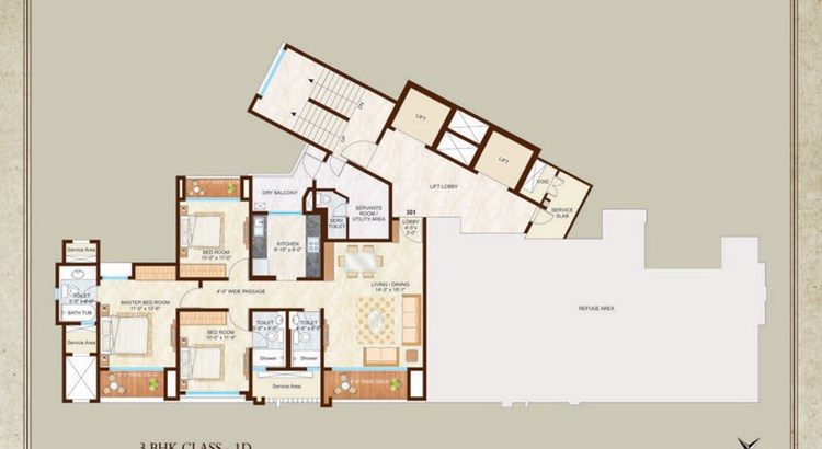Woodside III 13th Floor Plan