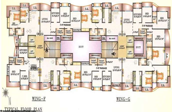 Bhairav Residency Wing F & G Floor plan