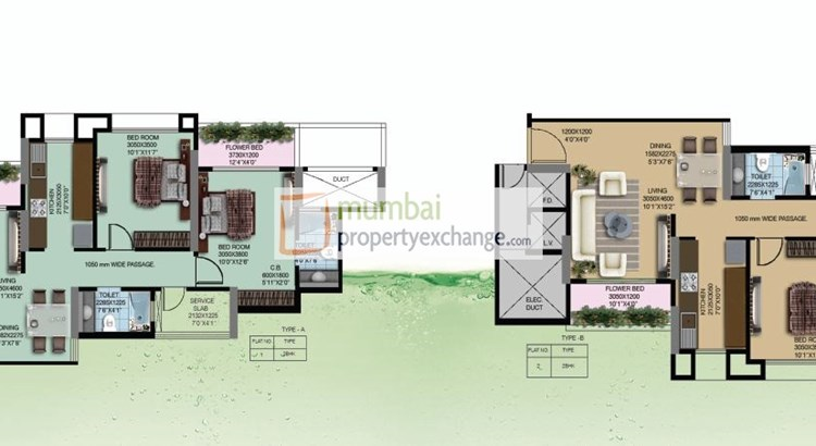 Water Lily and White Lily Floor Plan II