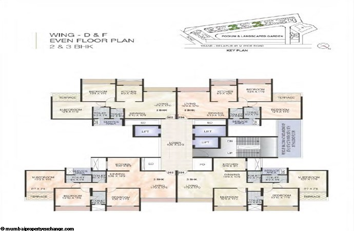 Green World Green World Wing D-F Even Typical floor Plan