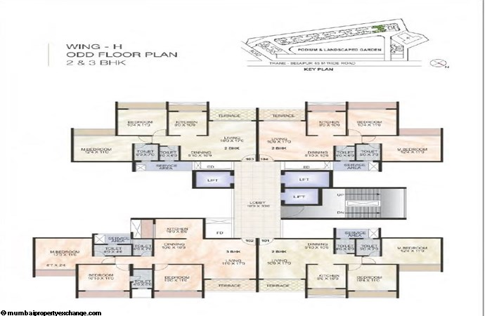 Green World Green World Wing H Odd Typical floor Plan