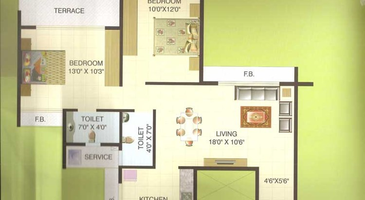 Hill View Residency 2 bhk Plan 1