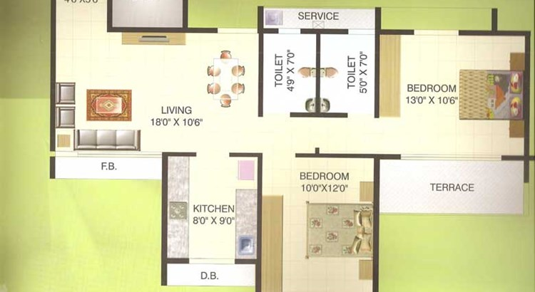Hill View Residency 2 bhk Plan 2