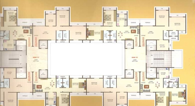 Hill View Residency Typical Floor Plan