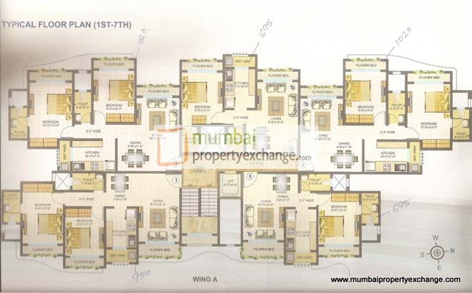 Wing A 1st - 7Th Floor Plan
