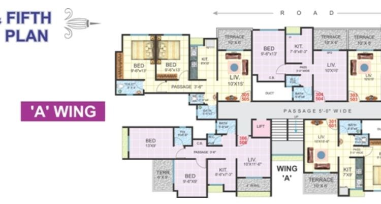 Bhagyoday 3rd and 5th Floor Plan