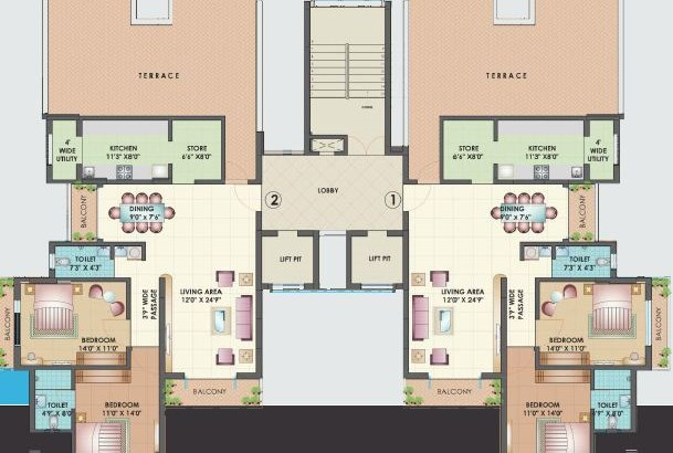Mahavir Habitat 11th floor plan