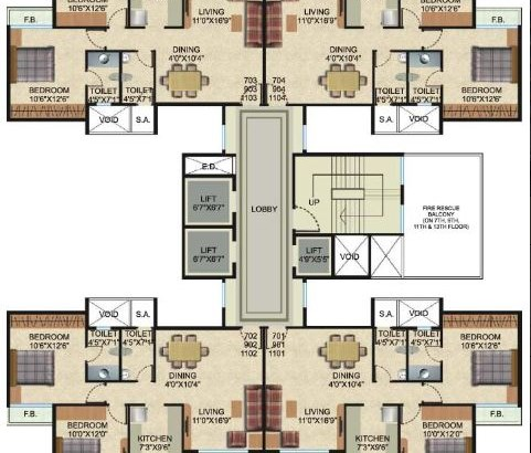 Vishwa Siyona 7, 9 and 11 Floor Plan