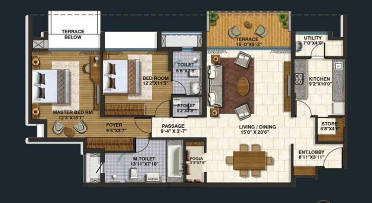 Lodha Belmondo 2 BHK Large Unit Plan