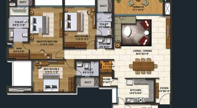 Lodha Belmondo 3 BHK Large Unit Plan