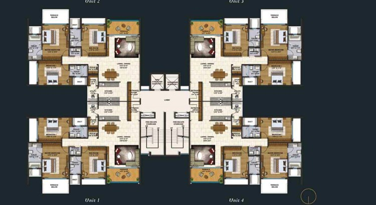 Lodha Belmondo 3 BHK Normal Floor Plan