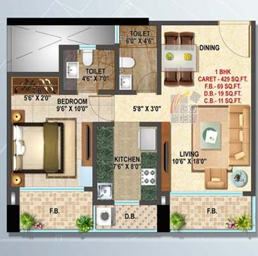 Platinum 1 Bhk Floor Plan